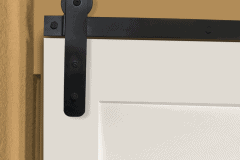 MP Series hardware with straight strap hanger on white door
