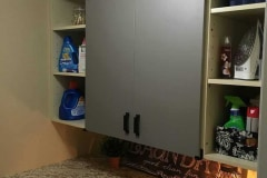 Shutter Series hardware on laundry room cabinets