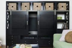 Shutter Series hardware on living room cabinet
