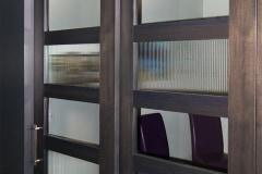 Stainless Steel hardware on office barn door