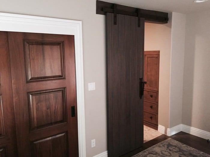 dark wood sliding barn door
