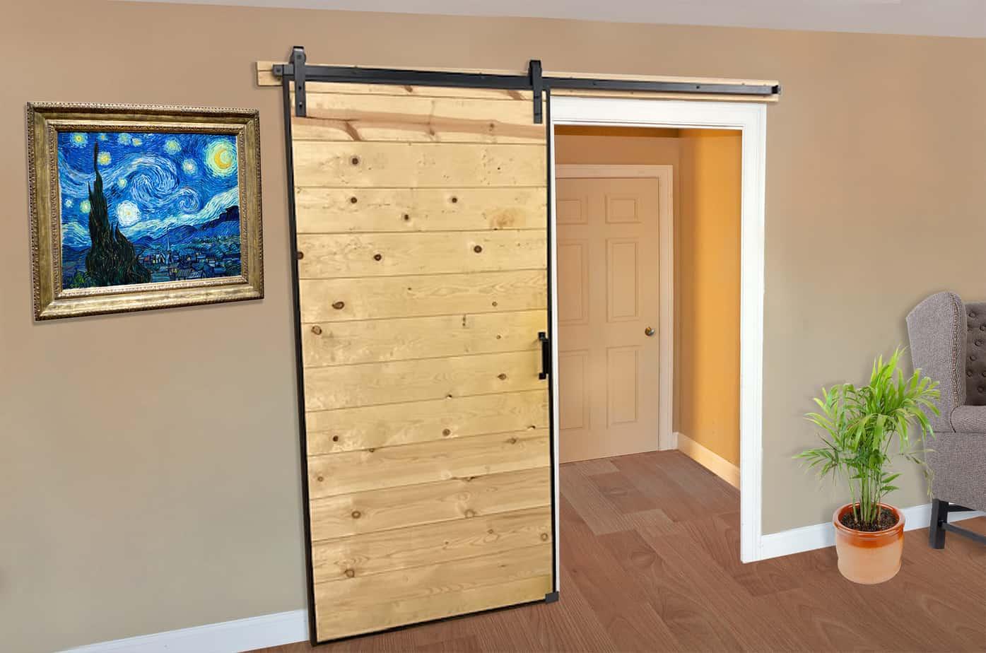 A wooden barn door style sliding door mounted on a home interior pass through