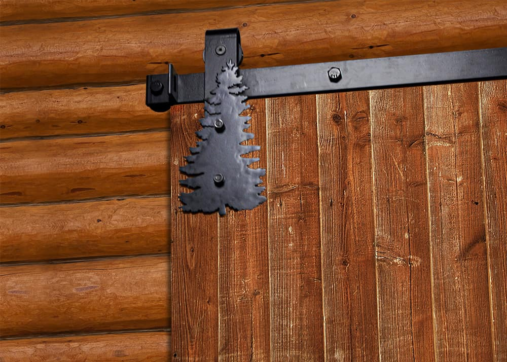 pine tree accent trim on barn door