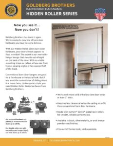 thumbnail image of a product brochure for Goldberg Brothers Hidden Roller Series barn door hardware