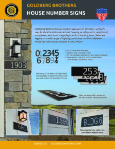 brochure for Goldberg Brothers house number signs