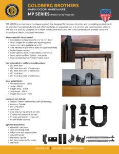 brochure for Goldberg Brothers MP Series barn door hardware