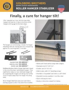 Goldberg Brothers roller hanger stabilizer 1-page flyer