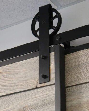shiplap door with barn door edge wrap