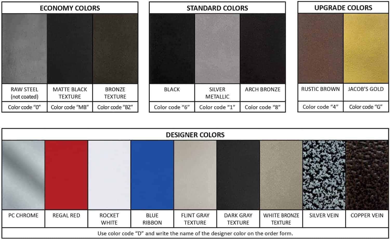 Goldberg Brothers powder coat color samples and names